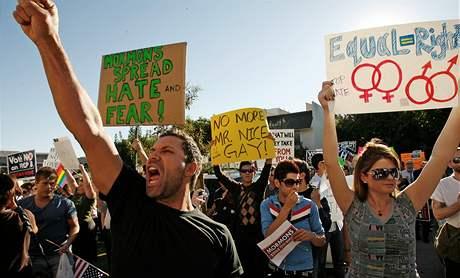 Gayov� a lesbi�ky protestuj� v Los Angeles.
