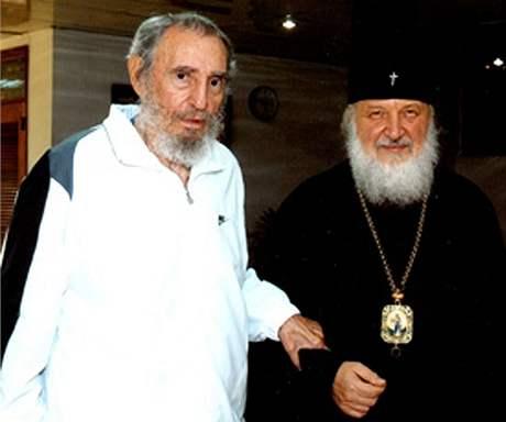 Fidel Castro na zatím posledním zveřejněném snímku s představitelem ruské Ortodoxní církve na Kubě.