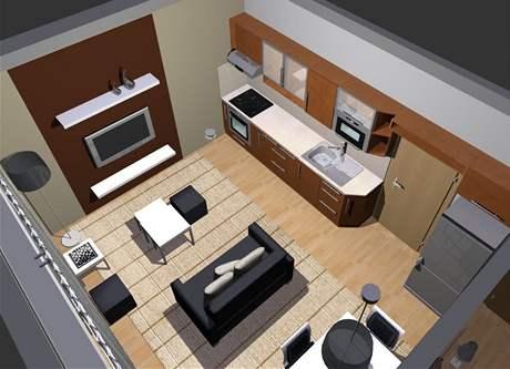 Obývací pokoj s ložnicí: první varianta