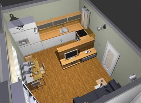 Obývací pokoj s ložnicí: druhá varianta