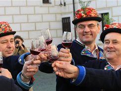 Do Čejkovické tvrze přivezli 11. 11. v 11:11 na bílém koni Svatomartinské víno