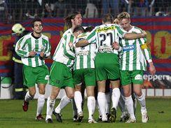 Bohemians Praha - Sparta Praha: hráči Bohemians se radují z gólu