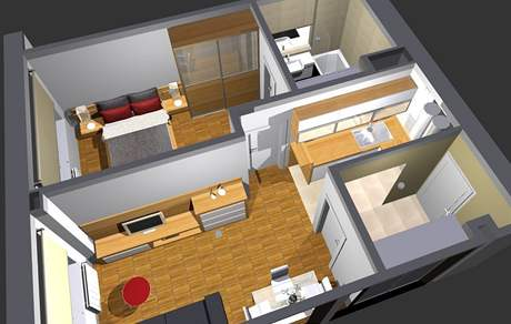 Půdorys panelového bytu 2+kk