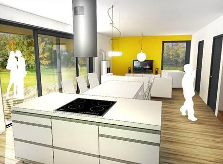 Obytná místnost počítá se spojením kuchyně a obýváků s přímým vstupem na terasu před domem