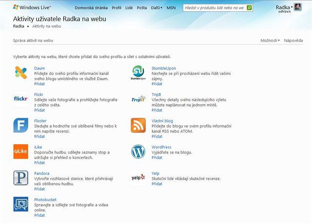Aktivity na webu