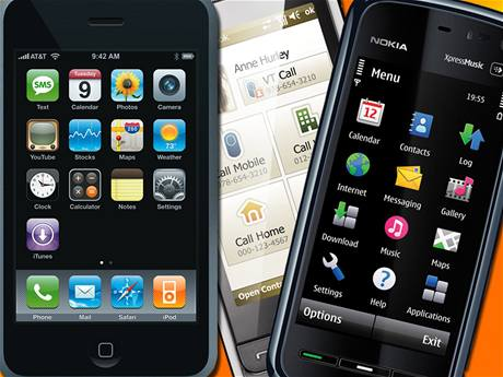 iPhone 3G, Nokia 5800 XpressMusic a Samsung i900 Omnia