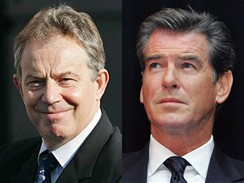 Tony Blair a Pierce Brosnan