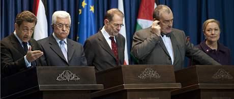 Společná tisková konference mise EU a francouzského prezidenta Sarkozyho po jednání s šéfem palestinské samosprávy Mahmúdem Abbásem.
