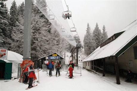 Zimní středisko Říčky v Orlických horách - spodní stanice vleku