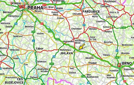 Mapa - nehoda u Velkého Beranova