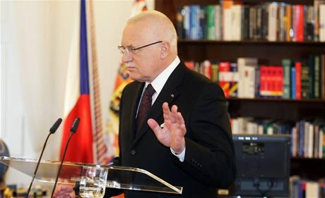 Václav Klaus před novoročním projevem 2009