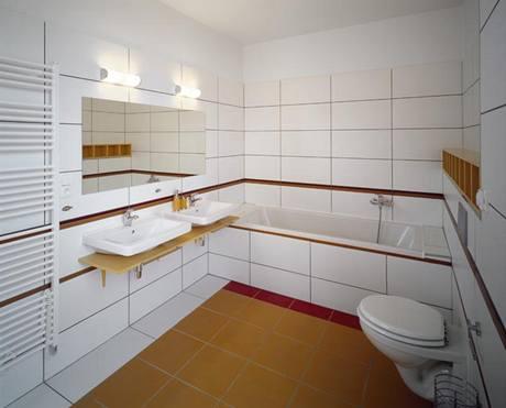 Dětská koupelna (obklady RAKO), těží z efektu velkých formátů a barevných kontrastů