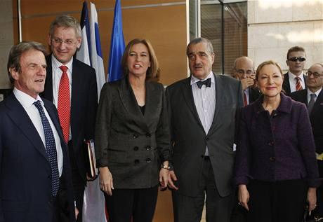 Karel Schwarzenberg po jednání s izraelskou ministryní zahraničí Cipi Livniovou.
