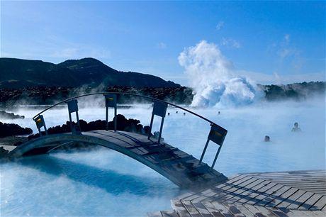 Island, termální koupele u Reykjavíku