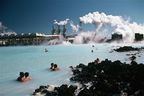 Island, termální koupele u Reykjaviku