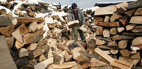 Muž připravuje palivo v bulharském skladu dřeva