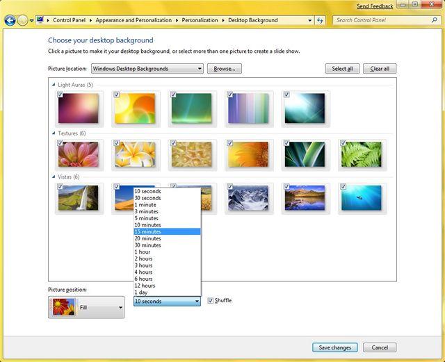 Výběr vzhledu Windows 7 - náhodná změna tapety plochy