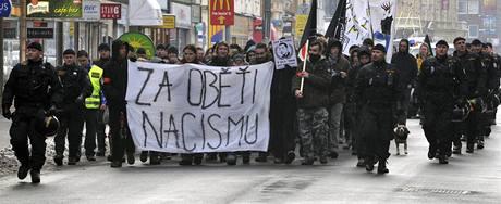 Pochod příznivců hnutí Antifa Pardubicemi. (17. ledna 2009)