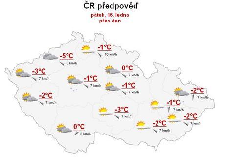 Předpověď počasí na pátek 16. ledna.