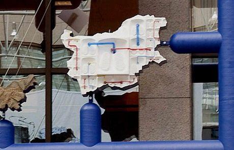 Zobrazen� Bulharska v plastice Entropa, kter� zdob� budovu Rady EU v Bruselu