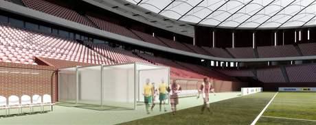 Zatahovací tunely nového fotbalového stadionu v Brně, kudy budou hráči nastupovat na hřiště