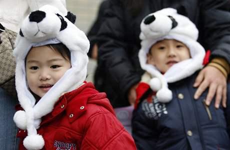Na pandy v tchajpejské zoo se dorazily podívat davy lidí.