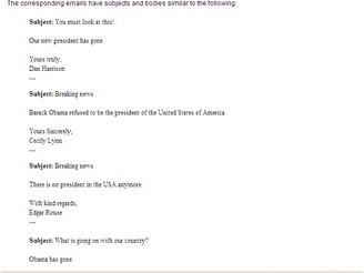 Text e-mailu s odkazem na vir Obama