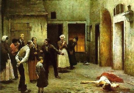 Jakub Schikaneder: Vražda v domě. 1890, olej, plátno 203x321 cm; dílo je ve sbírce Národní galerie v Praze.