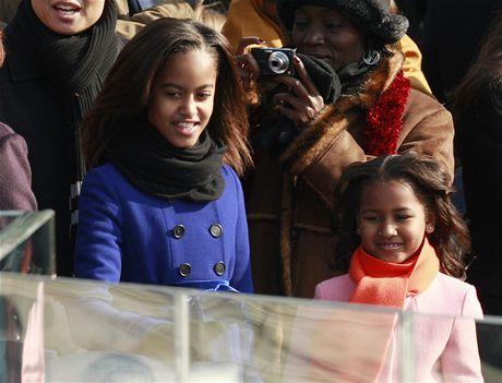 Malia a Sasha, děti Baracka Obamy, na prezidentské inauguraci svého otce