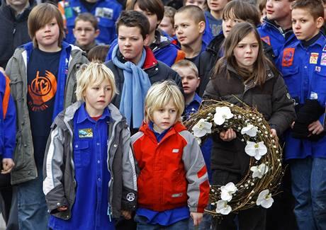 Pietní shromáždění v západobelgickém městě Dendermonde. (25. ledna 2009)
