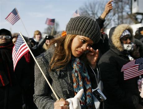 Aleeshu Chaney z Illinois inaugurace Baracka Obamy rozplakala.
