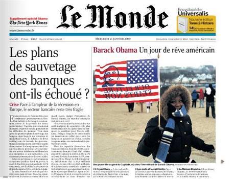 Tituln� strana Le Monde.