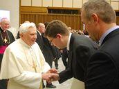 Papež Benedikt XVI. a ministr spravedlnosti Jiří Pospíšil, 28. ledna 2009