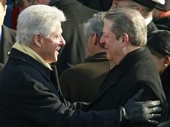 Bývalé prezidentské duo Bill Clinton a Al Gore na inauguraci Baracka Obamy