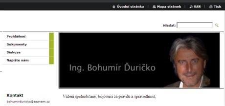 Titulní strana webu Bohumíra Ďurička