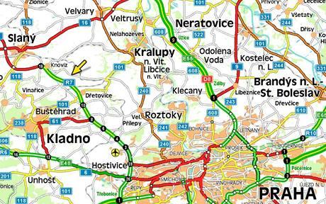 Mapa - nehoda na Kladensku