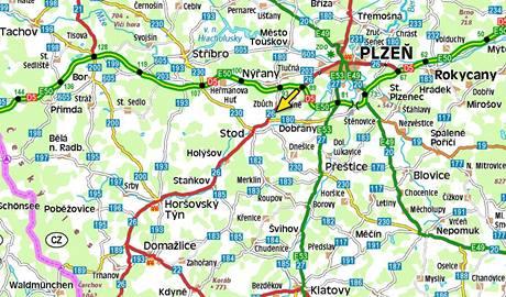 Mapa - nehoda mezi Plzní a Domažlicemi