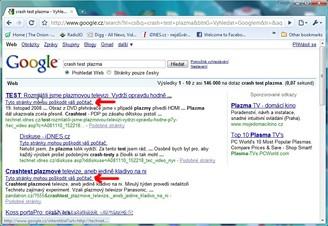 chybné varování stránek Google