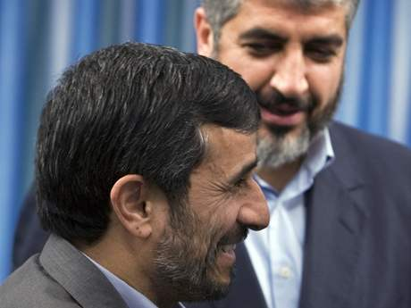 Khaled Meshaal, the political leader of Hamas and Iran's President Mahmoud Ahmadinejad