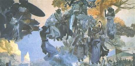 Slavnost Svantovítova na Rujáně - ze Slovanské epopeje Alfonse Muchy