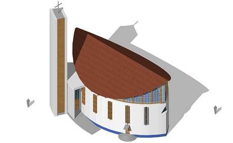 Vizualizace nové kaple v Kosticích
