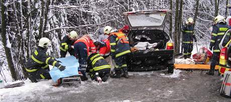 Při havárii favoritu na Brněnsku byli zraněni tři dospělí a dvě děti