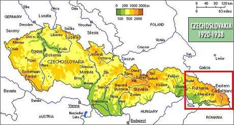 Mapa meziválečného Československa