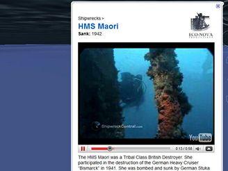 Google Earth - vrak lodi HMS Maori