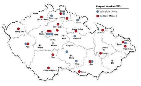 Čerpací stanice CNG v ČR (únor 2009)