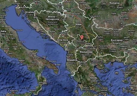 Mapa Balkánu s vyznačeným Kosovem
