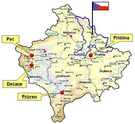 Mapa působení Mnohonárodního úkolového uskupení Střed v Kosovu