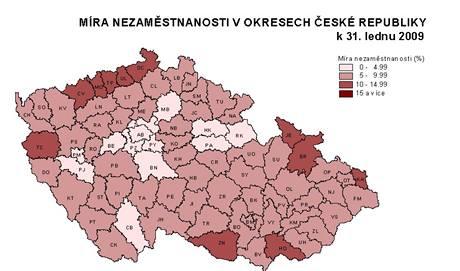 Mapa ukazující vývoj nezaměstnanosti v regionech ČR v lednu 2009.