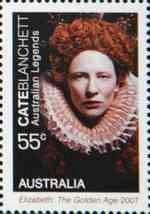Here�ka Cate Blanchettov� na australsk� zn�mce (podobizna z filmu Kr�lovna Al�b�ta: Zlat� v�k)