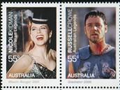 Australští herci Nicole Kidmanová, Russel Crow, Geoffrey Rush a Cate Blanchettová v nové kolekci poštovních známek